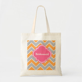 Custom Grey Chevron Bridesmaid Wedding Tote Bag