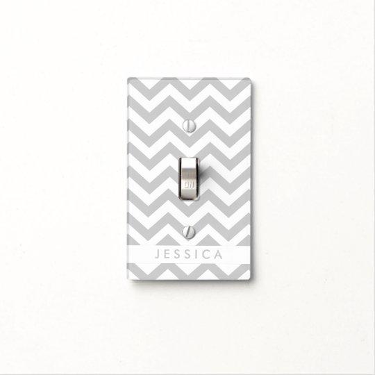 Custom Grey Chevron Light Switch Cover