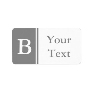 Custom Grey Monogrammed Labels or Gift Tags