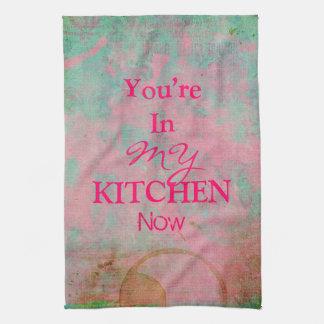 Custom Grunge Pink Kitchen Towel