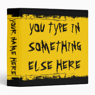 Custom Grunge School Bus Yellow Vinyl Binders