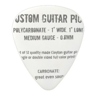 Custom Guitar Pick - Carbonate, Medium Gauge 0.8mm Polycarbonate Guitar Pick