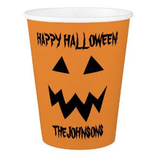 Custom Halloween party orange pumpkin paper cups