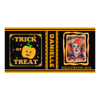 Custom Halloween Trick / Treat Pumpkin Photo Card
