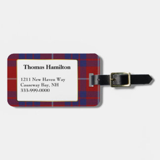 Custom Hamilton Tartan Plaid Luggage Tag