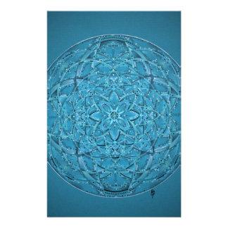 Custom hand drawn blue mandala stationery