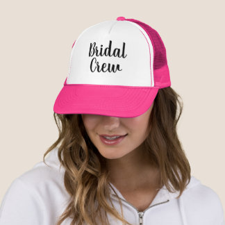 Custom handlettered bridal crew party trucker hat