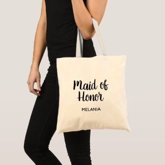 Custom handlettered Maid of Honor wedding tote bag