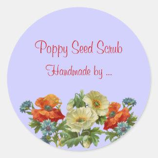 Custom Handmade Soap Poppy and Cornflowers Sticker