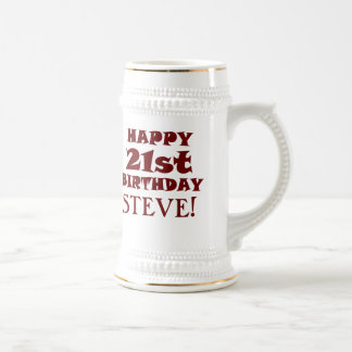 Custom Happy 21st Birthday Beer Stein
