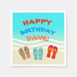 Custom Happy Birthday Beach Party Napkin