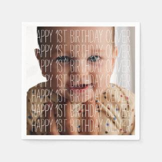 Custom Happy Birthday Photo Napkins Paper Napkin