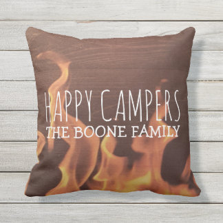 Custom Happy Campers | Rustic Wood Fire Outdoor Throw Pillow