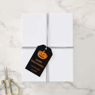 Custom Happy Halloween party favor carved pumpkin Pack Of Gift Tags