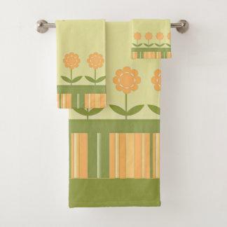 Custom Happy Mother's Day Spring Flowers Stripes Bath Towel Set