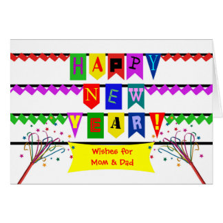 Custom Happy New Year for Mom and Dad, Flags Card