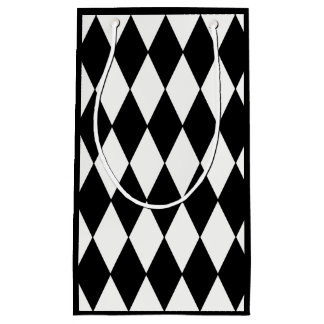 Custom Harlequin Black Diamond Small Gift Bag