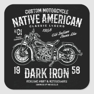 Custom Harley Indian Motorcycle Classic Legend Square Sticker