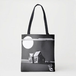 Custom Haunted House Trick-or-Treat Tote Bag