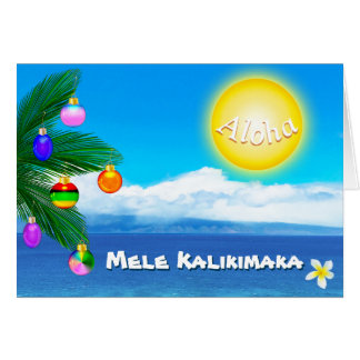 Custom Hawaiian Christmas Cards Mele Kalikimaka