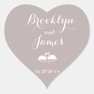 Custom Heart Elegant Grey Wedding Stickers Swans