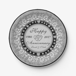 Custom Heart Monogram Ornamental Anniversary Paper Plate