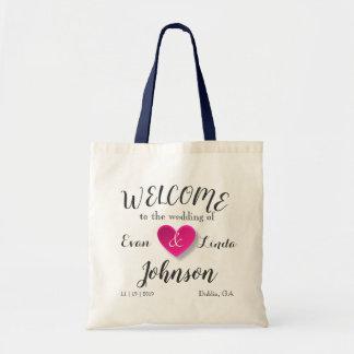 Custom Heart Name Wedding Hotel Gift Tote Bag