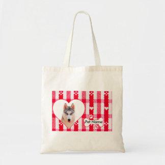Custom Heart Shaped Siberian Husky Cotton Tote Bag
