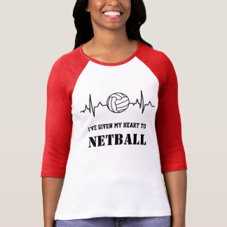 Custom Heartbeat and Ball Design Netball Quote T-Shirt