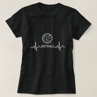 Custom Heartbeat and Ball Theme Love Netball T-Shirt
