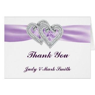Custom Hearts Lavender Ribbon Thank You Card