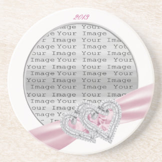 Custom Hearts Pastel Pink Ribbon Coaster