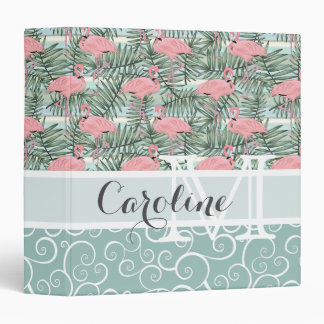 Custom Hip Pink Flamingoes Cute Palm Leafs Pattern 3 Ring Binders