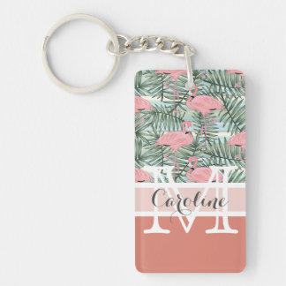 Custom Hip Pink Flamingoes Cute Palm Leafs Pattern Keychain