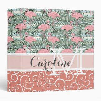 Custom Hip Pink Flamingoes Cute Palm Leafs Pattern Vinyl Binder