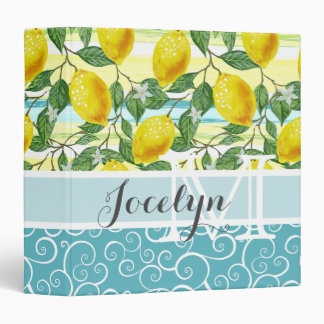Custom Hip Tropical Summer Lemons Fruit Pattern 3 Ring Binder