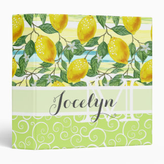 Custom Hip Tropical Summer Lemons Fruit Pattern Binder