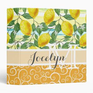 Custom Hip Tropical Summer Lemons Fruit Pattern Vinyl Binders