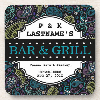 Custom Hippie Peacock Paisley Bar and Grille Beverage Coaster
