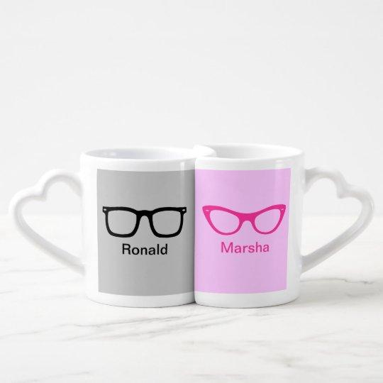 Custom His and Hers Nerd Glasses Coffee Mug Set