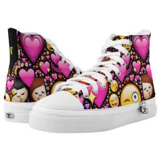 Custom HiTops Love Emoji Pink Black Add Name High Tops