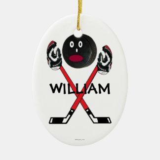 Custom Hockey Cartoon Ceramic Oval Ornament