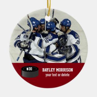 Custom Hockey Photo Player Name, Team & Number Ceramic Ornament