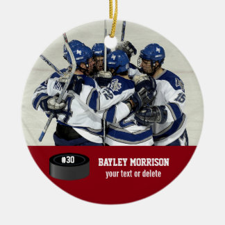Custom Hockey Photo Player Name, Team & Number Round Ceramic Ornament