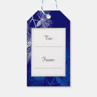 Custom Holiday Blue White Pine Pattern Tag Pack Of Gift Tags