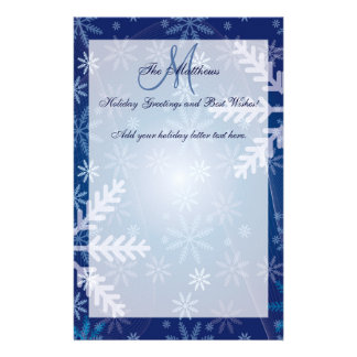 Custom Holiday Greetings Family Letter Snowflakes Customized Stationery
