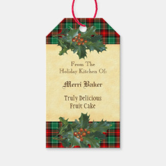 Custom Holiday Kitchen Holly Red Green Plaid Tag Pack Of Gift Tags