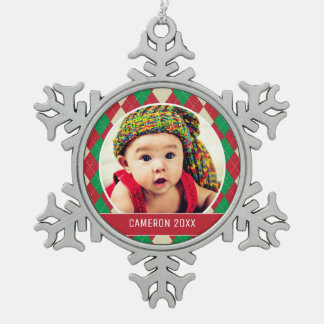 Custom Holiday Photo   Red & Green Argyle Pattern Snowflake Pewter Christmas Ornament