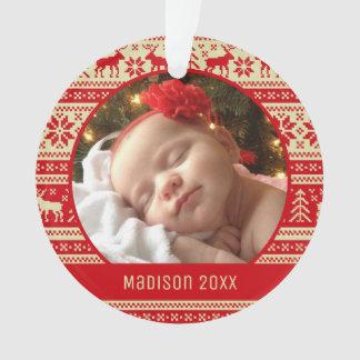 Custom Holiday Photo | Sweater Pattern Ornament
