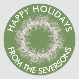 Custom Holiday Wreath Sticker